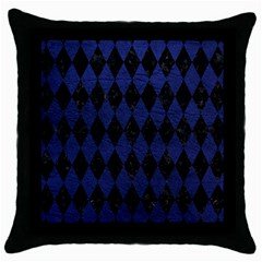 Diamond1 Black Marble & Blue Leather Throw Pillow Case (black) by trendistuff