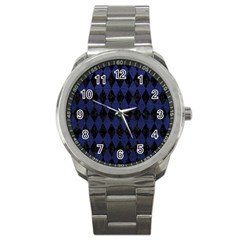 Diamond1 Black Marble & Blue Leather Sport Metal Watch by trendistuff