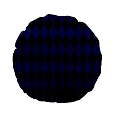 Diamond1 Black Marble & Blue Leather Standard 15  Premium Round Cushion  by trendistuff