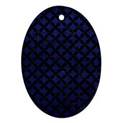 Circles3 Black Marble & Blue Leather (r) Oval Ornament (two Sides) by trendistuff