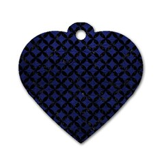 Circles3 Black Marble & Blue Leather (r) Dog Tag Heart (two Sides) by trendistuff