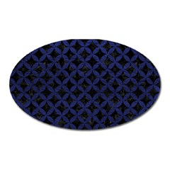 Circles3 Black Marble & Blue Leather Magnet (oval) by trendistuff