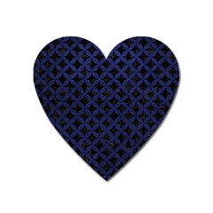 Circles3 Black Marble & Blue Leather Magnet (heart) by trendistuff