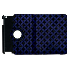 Circles3 Black Marble & Blue Leather Apple Ipad 2 Flip 360 Case by trendistuff