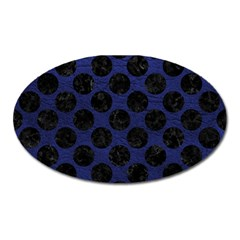 Circles2 Black Marble & Blue Leather (r) Magnet (oval) by trendistuff