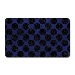 Circles2 Black Marble & Blue Leather (r) Magnet (rectangular) by trendistuff