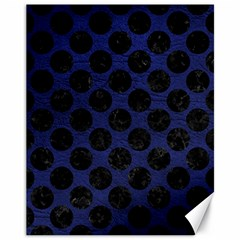 Circles2 Black Marble & Blue Leather (r) Canvas 11  X 14  by trendistuff