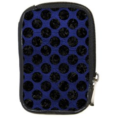 Circles2 Black Marble & Blue Leather (r) Compact Camera Leather Case by trendistuff