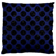 Circles2 Black Marble & Blue Leather (r) Large Cushion Case (one Side) by trendistuff