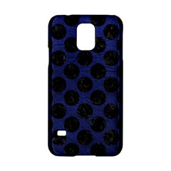Circles2 Black Marble & Blue Leather (r) Samsung Galaxy S5 Hardshell Case  by trendistuff