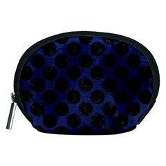 Circles2 Black Marble & Blue Leather (r) Accessory Pouch (medium) by trendistuff