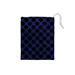 Circles2 Black Marble & Blue Leather (r) Drawstring Pouch (small) by trendistuff
