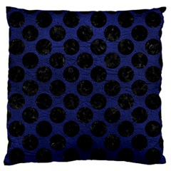 Circles2 Black Marble & Blue Leather (r) Large Flano Cushion Case (two Sides) by trendistuff