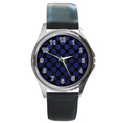 Circles2 Black Marble & Blue Leather Round Metal Watch by trendistuff