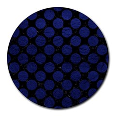 Circles2 Black Marble & Blue Leather Round Mousepad