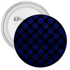 Circles2 Black Marble & Blue Leather 3  Button by trendistuff