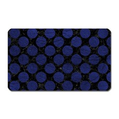 Circles2 Black Marble & Blue Leather Magnet (rectangular) by trendistuff