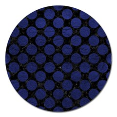 Circles2 Black Marble & Blue Leather Magnet 5  (round) by trendistuff