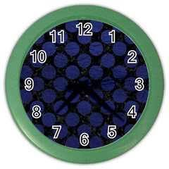 Circles2 Black Marble & Blue Leather Color Wall Clock