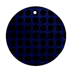 Circles1 Black Marble & Blue Leather (r) Round Ornament (two Sides) by trendistuff