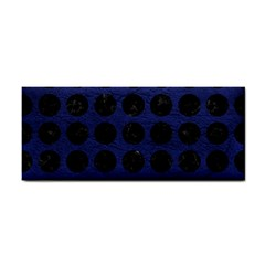 Circles1 Black Marble & Blue Leather (r) Hand Towel by trendistuff
