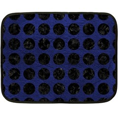 Circles1 Black Marble & Blue Leather (r) Double Sided Fleece Blanket (mini) by trendistuff