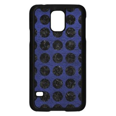 Circles1 Black Marble & Blue Leather (r) Samsung Galaxy S5 Case (black)