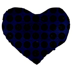 Circles1 Black Marble & Blue Leather (r) Large 19  Premium Flano Heart Shape Cushion by trendistuff