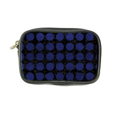 Circles1 Black Marble & Blue Leather Coin Purse by trendistuff