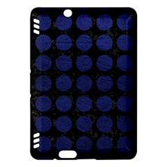 Circles1 Black Marble & Blue Leather Kindle Fire Hdx Hardshell Case by trendistuff