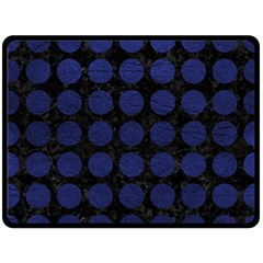 Circles1 Black Marble & Blue Leather Double Sided Fleece Blanket (large) by trendistuff
