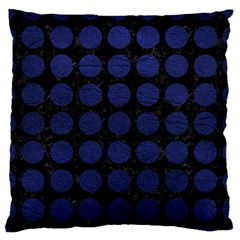 Circles1 Black Marble & Blue Leather Large Flano Cushion Case (one Side) by trendistuff