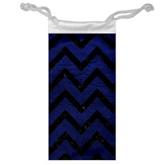 Chevron9 Black Marble & Blue Leather (r) Jewelry Bag by trendistuff