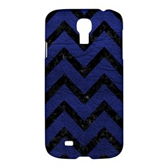 Chevron9 Black Marble & Blue Leather (r) Samsung Galaxy S4 I9500/i9505 Hardshell Case by trendistuff