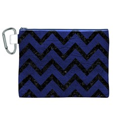 Chevron9 Black Marble & Blue Leather (r) Canvas Cosmetic Bag (xl) by trendistuff