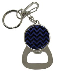 Chevron9 Black Marble & Blue Leather Bottle Opener Key Chain by trendistuff