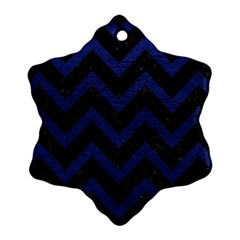 Chevron9 Black Marble & Blue Leather Snowflake Ornament (two Sides) by trendistuff