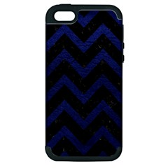 Chevron9 Black Marble & Blue Leather Apple Iphone 5 Hardshell Case (pc+silicone) by trendistuff