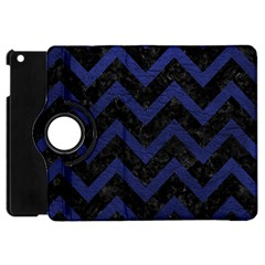 Chevron9 Black Marble & Blue Leather Apple Ipad Mini Flip 360 Case by trendistuff
