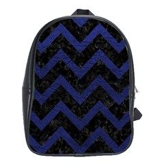 Chevron9 Black Marble & Blue Leather School Bag (xl) by trendistuff