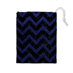 Chevron9 Black Marble & Blue Leather Drawstring Pouch (large) by trendistuff