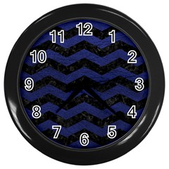 Chevron3 Black Marble & Blue Leather Wall Clock (black) by trendistuff
