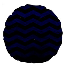 Chevron3 Black Marble & Blue Leather Large 18  Premium Round Cushion  by trendistuff