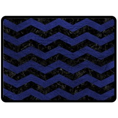 Chevron3 Black Marble & Blue Leather Double Sided Fleece Blanket (large) by trendistuff