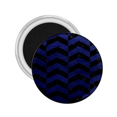 Chevron2 Black Marble & Blue Leather 2 25  Magnet by trendistuff