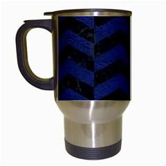 Chevron2 Black Marble & Blue Leather Travel Mug (white) by trendistuff