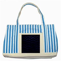 Chevron2 Black Marble & Blue Leather Striped Blue Tote Bag by trendistuff