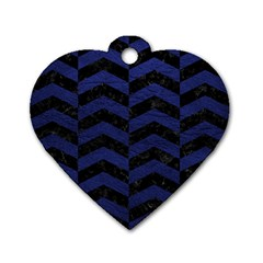 Chevron2 Black Marble & Blue Leather Dog Tag Heart (two Sides) by trendistuff
