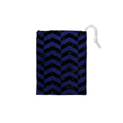 Chevron2 Black Marble & Blue Leather Drawstring Pouch (xs) by trendistuff