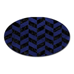 Chevron1 Black Marble & Blue Leather Magnet (oval) by trendistuff